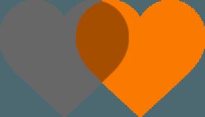 Corazones entrelazados de colores gris y naraja