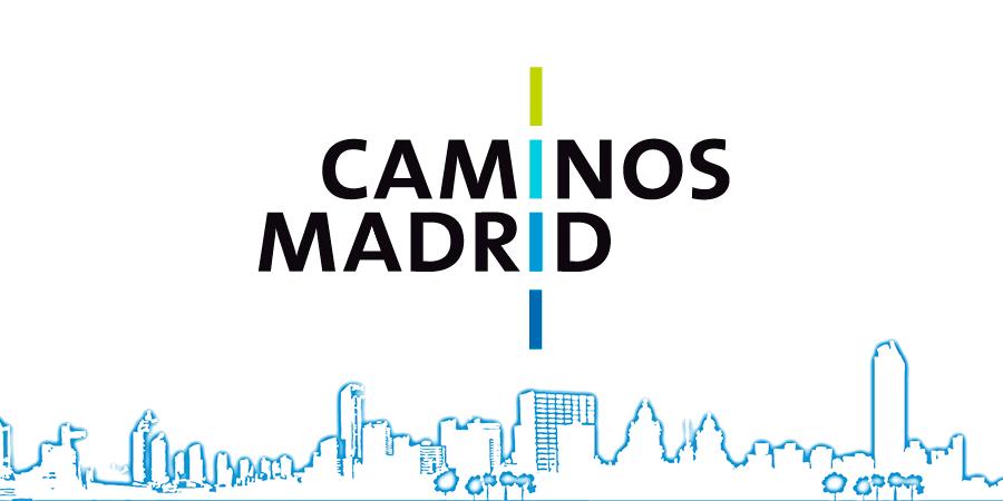 Cabecera con silueta de ciudad y logotipo de Caminos Madrid
