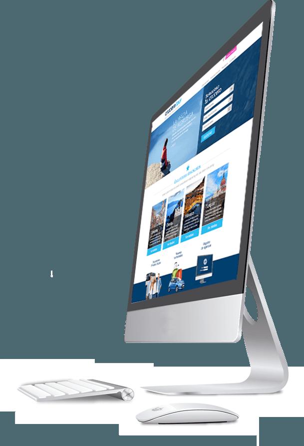 Diseño con ordenador de mesa de la página Crucero Tour