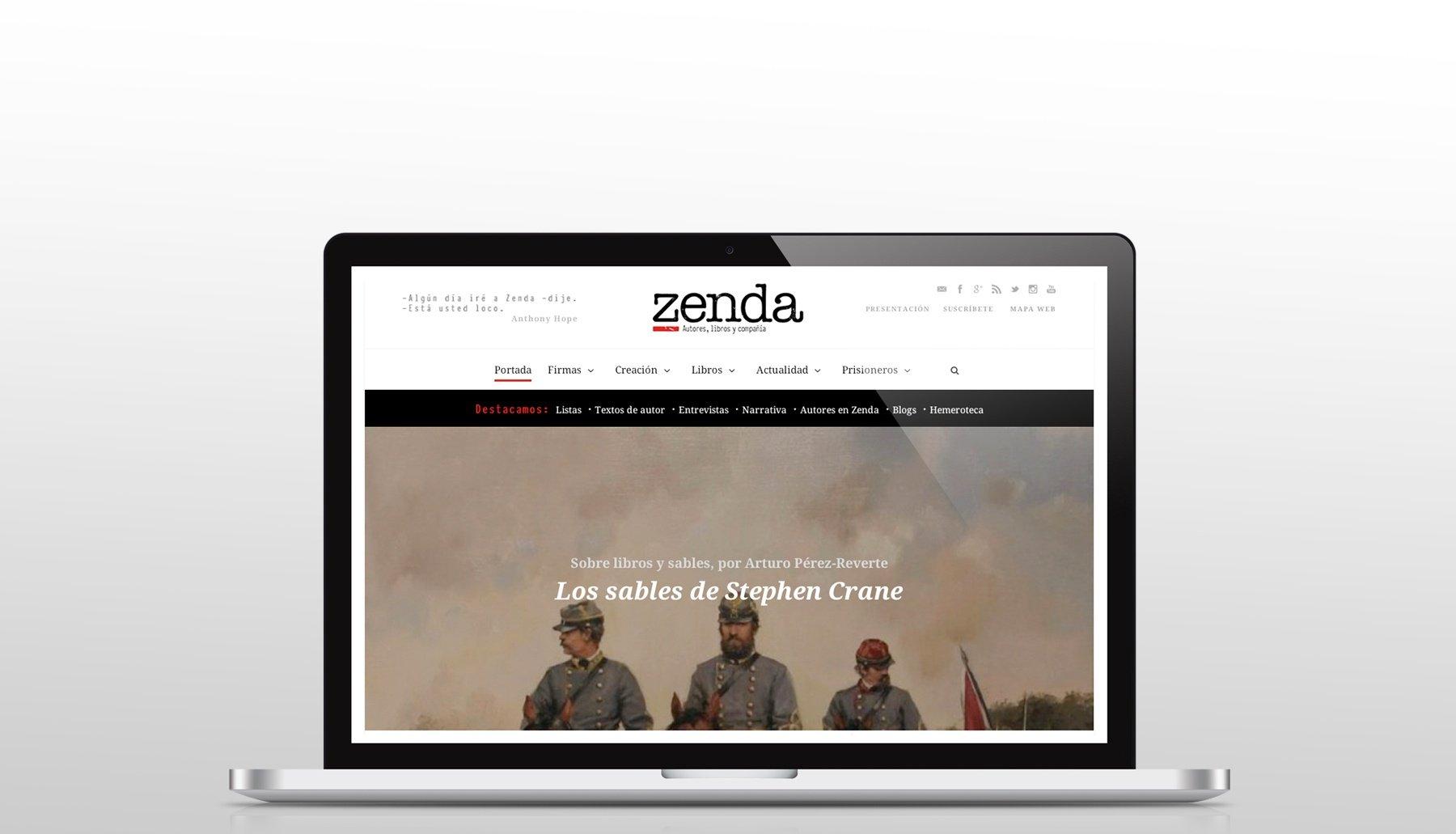 Diseño de la página web de Zendalibros en portátil