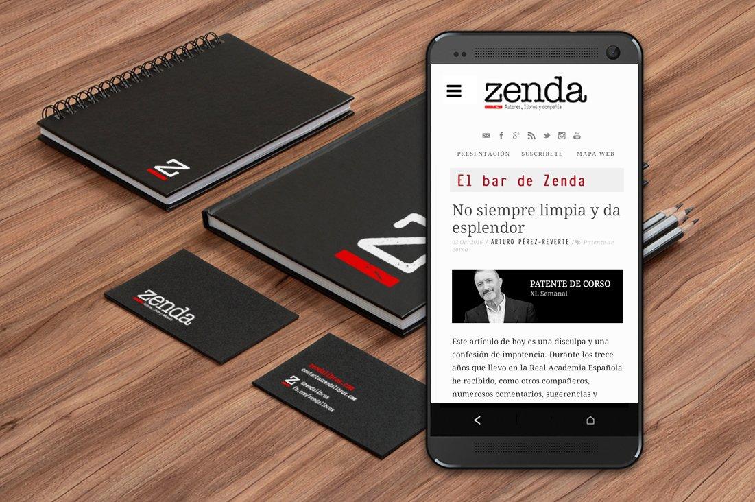 Diseño de la página web de Zenda en versión móvil y aplicación del logotipo en varios soportes