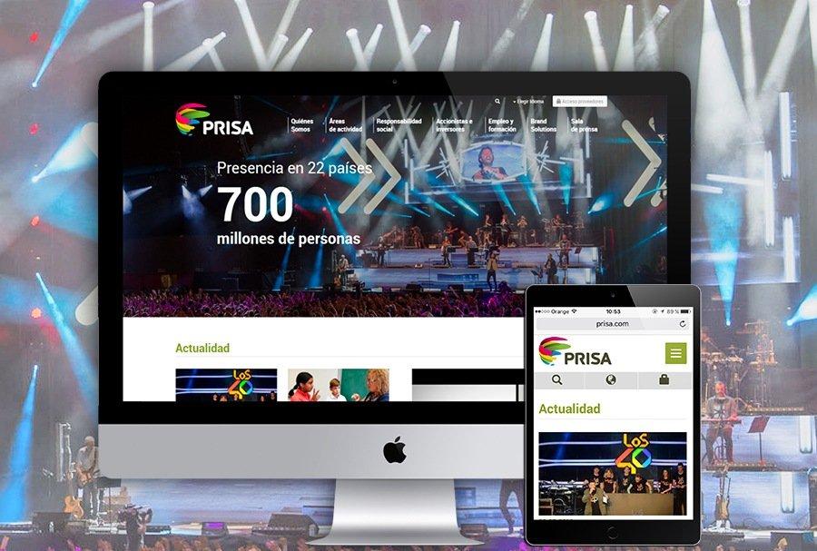 Diseño responsive de la página web de Prisa