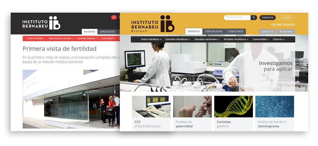 Dos imágenes de la página web de Instituto Bernabeu
