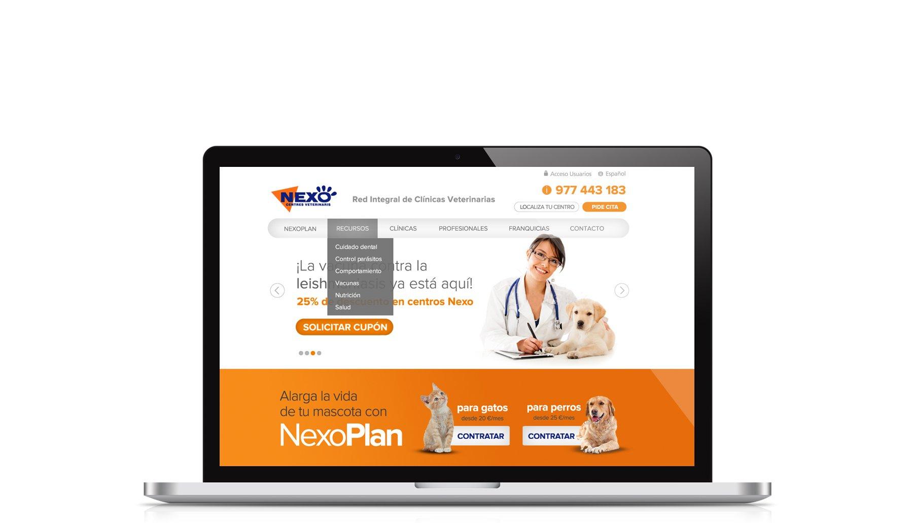 Cabecera de página del proyecto Nexo Centres Veterinaris