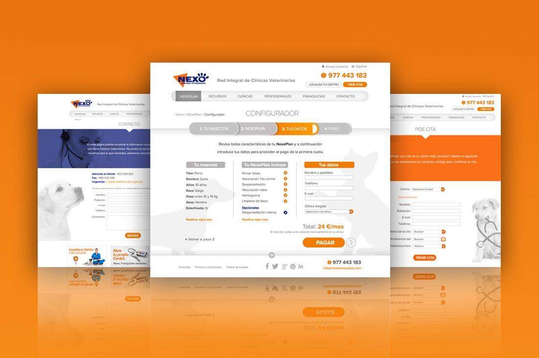 Diferentes imágenes de la pagina web de Nexo Centros Veterinarios