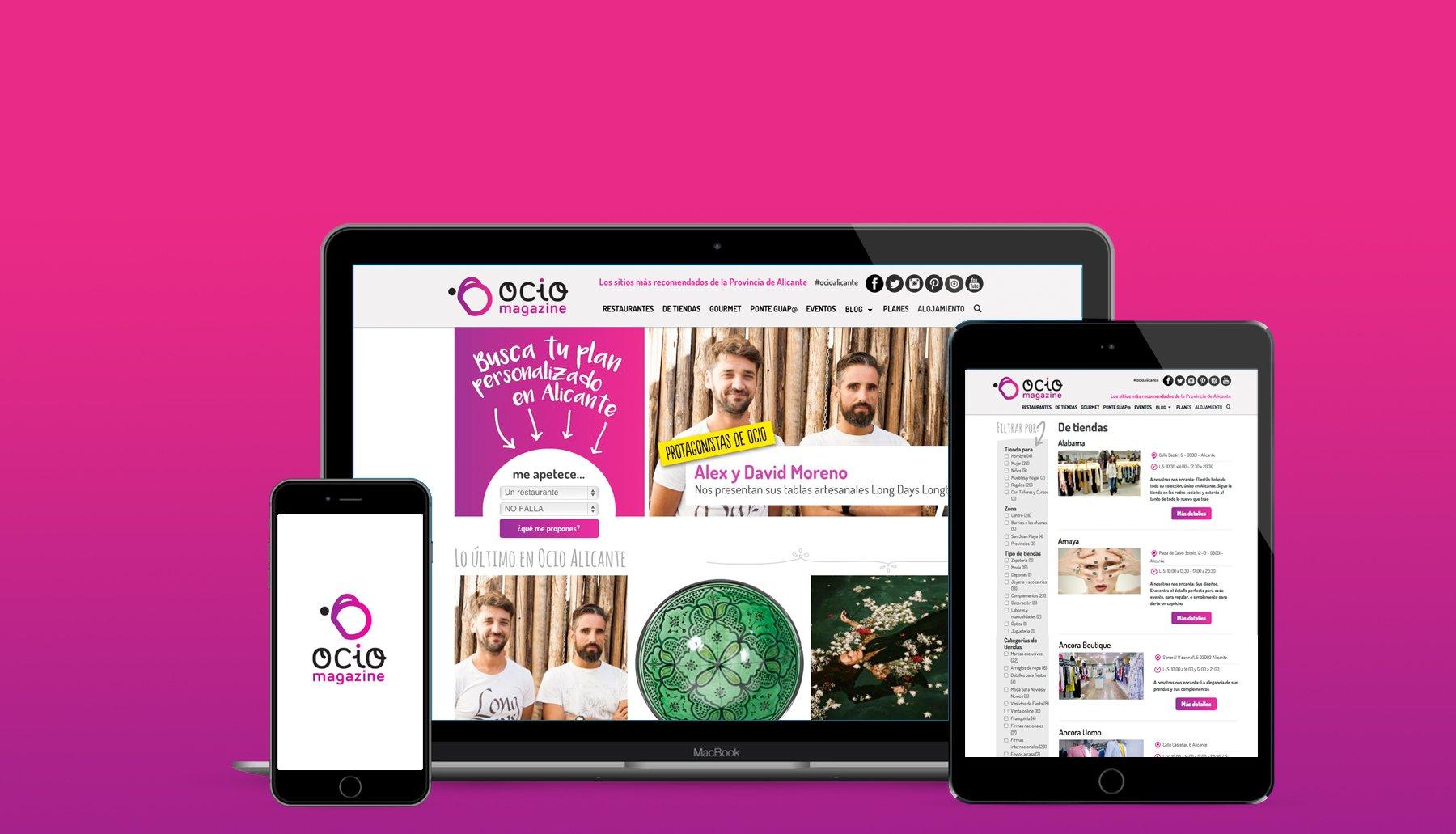 Cabecera de página del proyecto Ocio magazine con diferentes diseños responsive