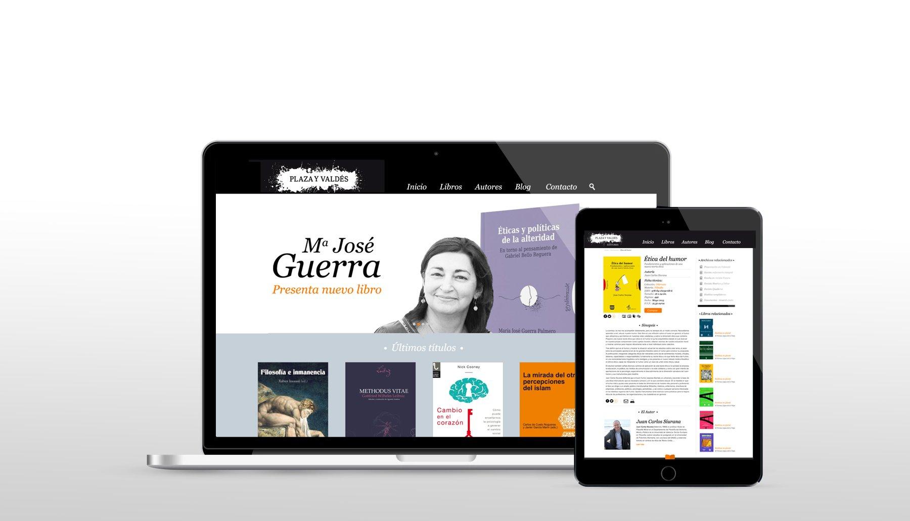 Diseño responsive de la página web editorial de Plaza y Valdés