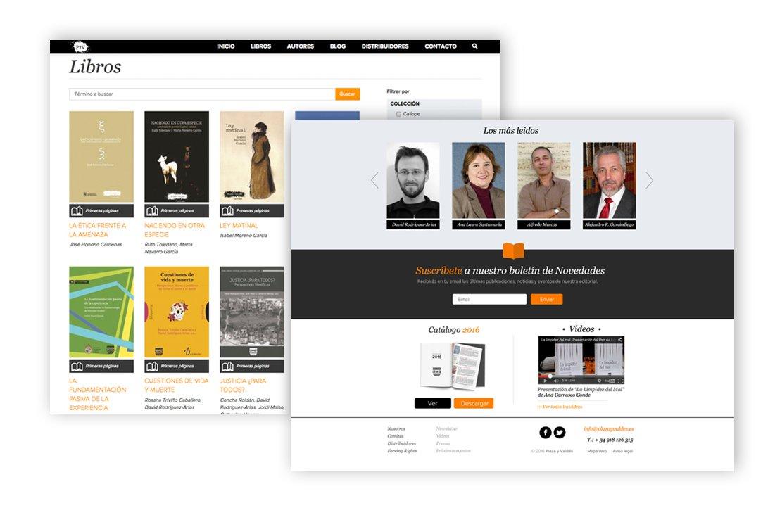 Dos imágenes de la página web de Plaza y Valdés