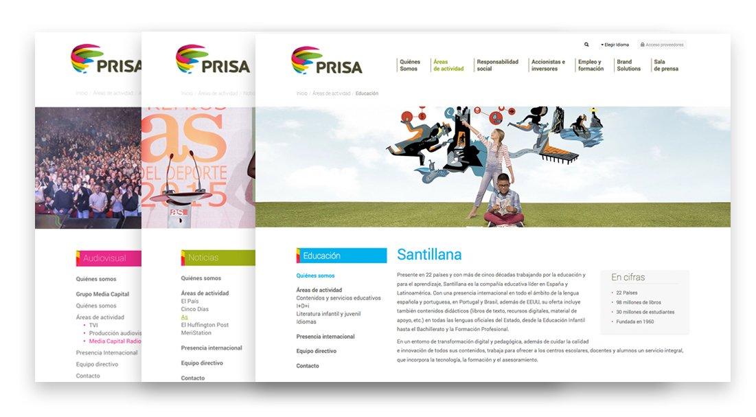 Diseño de la página web Prisa.com