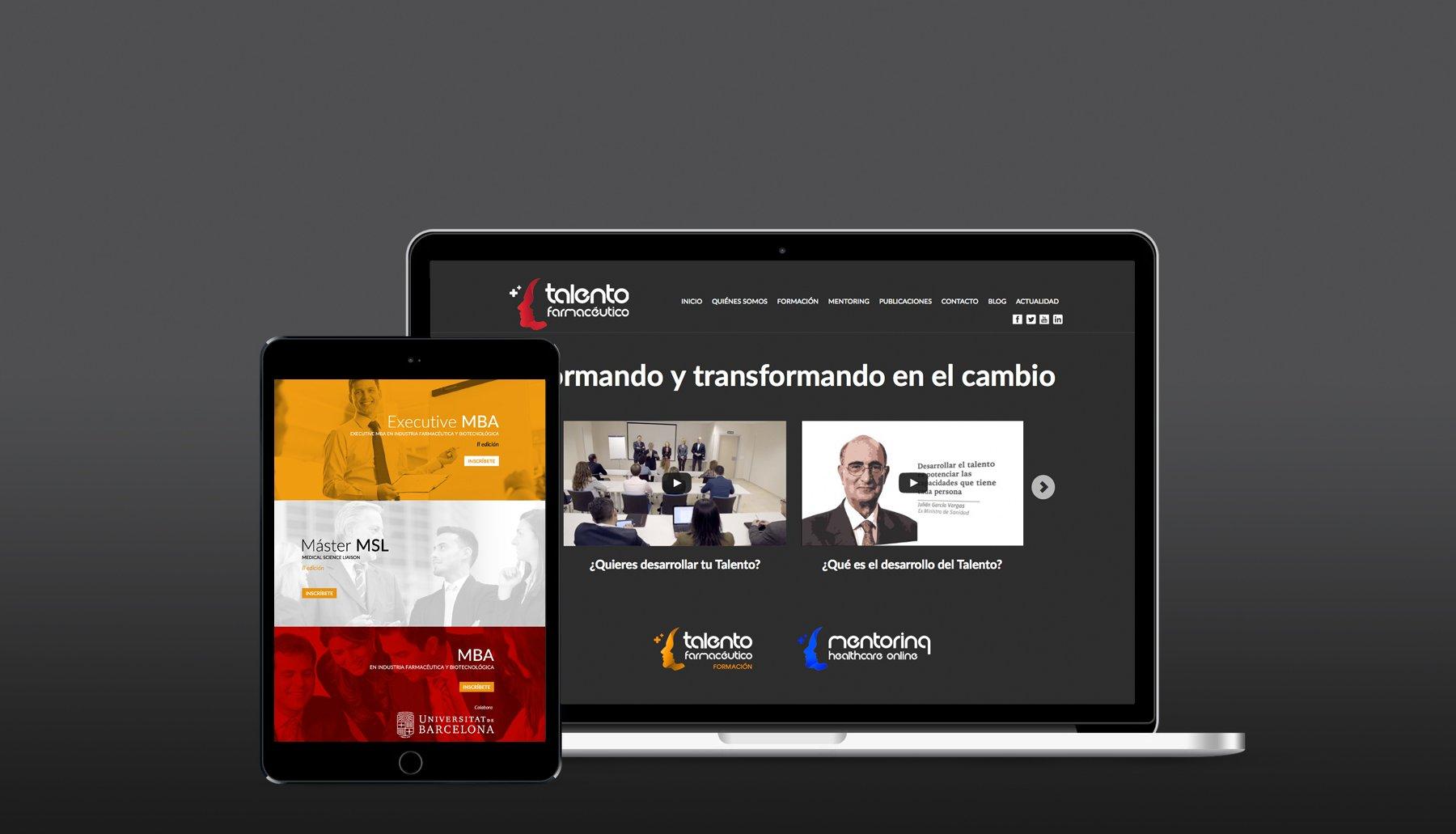 Cabecera de página del proyecto Talento Farmacéutico con versión responsive