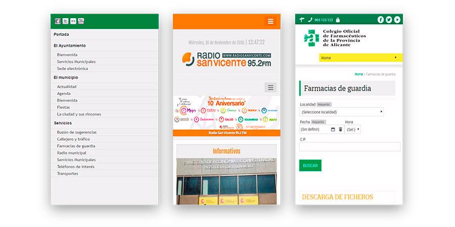 Versión responsive para móvil de la página web del ayuntamiento de San Vicente del Raspeig